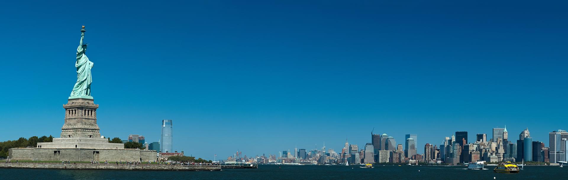 Statue of Liberty and Manhattan Skyline, New York USA